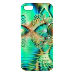 Golden Teal Peacock, Abstract Copper Crystal Iphone 5s Premium Hardshell Case by DianeClancy