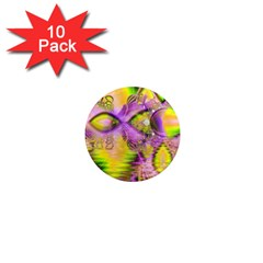 Golden Violet Crystal Heart Of Fire, Abstract 1  Mini Button Magnet (10 Pack) by DianeClancy