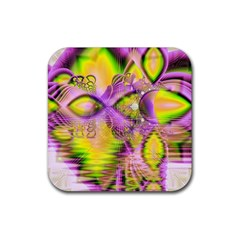 Golden Violet Crystal Heart Of Fire, Abstract Drink Coasters 4 Pack (square) by DianeClancy