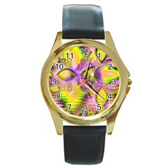 Golden Violet Crystal Heart Of Fire, Abstract Round Leather Watch (gold Rim)  by DianeClancy