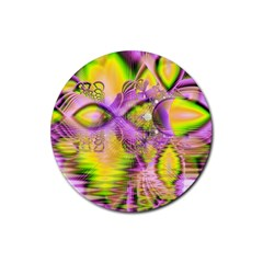 Golden Violet Crystal Heart Of Fire, Abstract Drink Coasters 4 Pack (round) by DianeClancy
