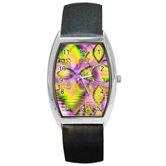 Golden Violet Crystal Heart Of Fire, Abstract Tonneau Leather Watch by DianeClancy