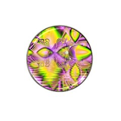 Golden Violet Crystal Heart Of Fire, Abstract Golf Ball Marker (for Hat Clip) by DianeClancy