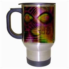 Golden Violet Crystal Heart Of Fire, Abstract Travel Mug (silver Gray) by DianeClancy