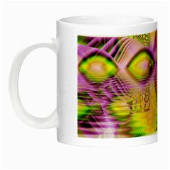 Golden Violet Crystal Heart Of Fire, Abstract Glow In The Dark Mug by DianeClancy