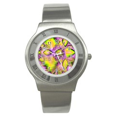 Golden Violet Crystal Heart Of Fire, Abstract Stainless Steel Watch (slim) by DianeClancy