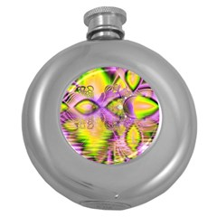 Golden Violet Crystal Heart Of Fire, Abstract Hip Flask (round) by DianeClancy