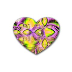 Golden Violet Crystal Heart Of Fire, Abstract Drink Coasters 4 Pack (heart)  by DianeClancy