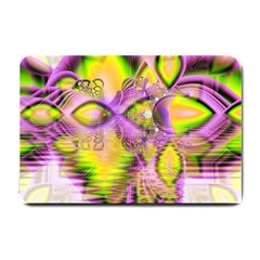 Golden Violet Crystal Heart Of Fire, Abstract Small Door Mat by DianeClancy