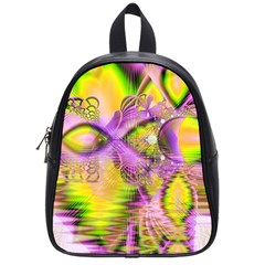 Golden Violet Crystal Heart Of Fire, Abstract School Bag (small) by DianeClancy