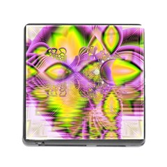 Golden Violet Crystal Heart Of Fire, Abstract Memory Card Reader With Storage (square) by DianeClancy