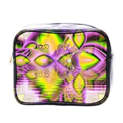 Golden Violet Crystal Heart Of Fire, Abstract Mini Travel Toiletry Bag (one Side) by DianeClancy