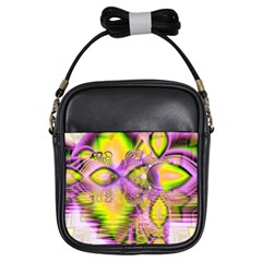 Golden Violet Crystal Heart Of Fire, Abstract Girl s Sling Bag by DianeClancy