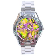 Golden Violet Crystal Heart Of Fire, Abstract Stainless Steel Watch by DianeClancy