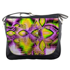 Golden Violet Crystal Heart Of Fire, Abstract Messenger Bag by DianeClancy
