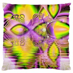 Golden Violet Crystal Heart Of Fire, Abstract Large Cushion Case (two Sided)  by DianeClancy