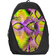 Golden Violet Crystal Heart Of Fire, Abstract Backpack Bag by DianeClancy
