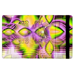 Golden Violet Crystal Heart Of Fire, Abstract Apple Ipad 2 Flip Case by DianeClancy