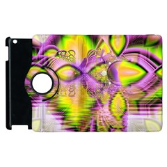 Golden Violet Crystal Heart Of Fire, Abstract Apple Ipad 2 Flip 360 Case by DianeClancy