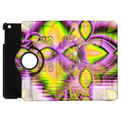 Golden Violet Crystal Heart Of Fire, Abstract Apple Ipad Mini Flip 360 Case by DianeClancy