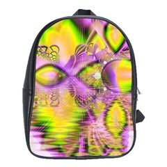 Golden Violet Crystal Heart Of Fire, Abstract School Bag (xl) by DianeClancy