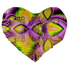Golden Violet Crystal Heart Of Fire, Abstract 19  Premium Heart Shape Cushion by DianeClancy