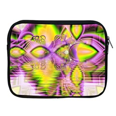 Golden Violet Crystal Heart Of Fire, Abstract Apple Ipad Zippered Sleeve by DianeClancy