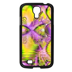 Golden Violet Crystal Heart Of Fire, Abstract Samsung Galaxy S4 I9500/ I9505 Case (black) by DianeClancy