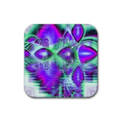 Violet Peacock Feathers, Abstract Crystal Mint Green Drink Coasters 4 Pack (square) by DianeClancy