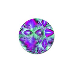 Violet Peacock Feathers, Abstract Crystal Mint Green Golf Ball Marker by DianeClancy