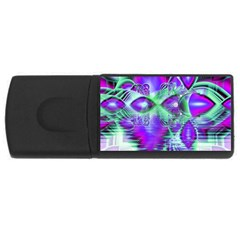 Violet Peacock Feathers, Abstract Crystal Mint Green 1GB USB Flash Drive (Rectangle) by DianeClancy