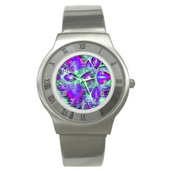 Violet Peacock Feathers, Abstract Crystal Mint Green Stainless Steel Watch (slim) by DianeClancy