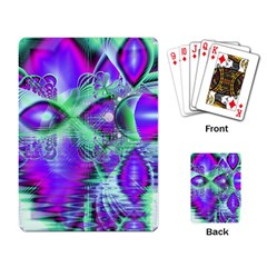 Violet Peacock Feathers, Abstract Crystal Mint Green Playing Cards Single Design by DianeClancy