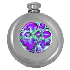 Violet Peacock Feathers, Abstract Crystal Mint Green Hip Flask (Round) by DianeClancy