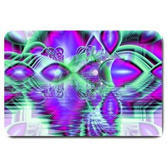 Violet Peacock Feathers, Abstract Crystal Mint Green Large Door Mat by DianeClancy