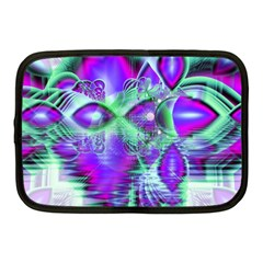 Violet Peacock Feathers, Abstract Crystal Mint Green Netbook Sleeve (medium) by DianeClancy