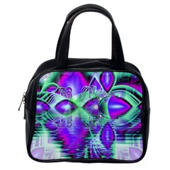 Violet Peacock Feathers, Abstract Crystal Mint Green Classic Handbag (one Side) by DianeClancy