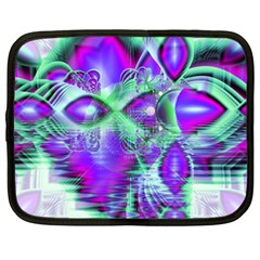 Violet Peacock Feathers, Abstract Crystal Mint Green Netbook Sleeve (xxl) by DianeClancy