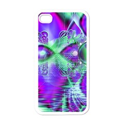 Violet Peacock Feathers, Abstract Crystal Mint Green Apple Iphone 4 Case (white) by DianeClancy