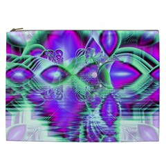 Violet Peacock Feathers, Abstract Crystal Mint Green Cosmetic Bag (xxl) by DianeClancy