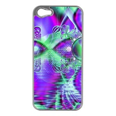 Violet Peacock Feathers, Abstract Crystal Mint Green Apple Iphone 5 Case (silver) by DianeClancy