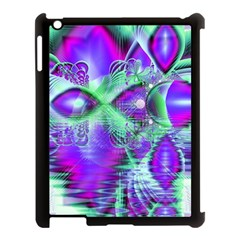 Violet Peacock Feathers, Abstract Crystal Mint Green Apple Ipad 3/4 Case (black) by DianeClancy