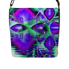 Violet Peacock Feathers, Abstract Crystal Mint Green Flap Closure Messenger Bag (large) by DianeClancy