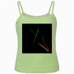 Abstract Rainbow Lily, Colorful Mystical Flower  Green Spaghetti Tank by DianeClancy
