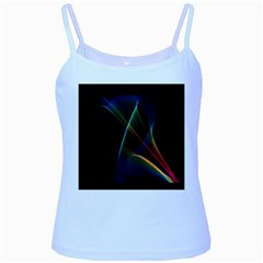 Abstract Rainbow Lily, Colorful Mystical Flower  Baby Blue Spaghetti Tank by DianeClancy