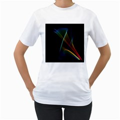 Abstract Rainbow Lily, Colorful Mystical Flower  Women s Two Sided T Shirt (white) by DianeClancy