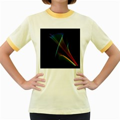 Abstract Rainbow Lily, Colorful Mystical Flower  Women s Ringer T Shirt (colored) by DianeClancy