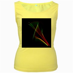 Abstract Rainbow Lily, Colorful Mystical Flower  Women s Tank Top (yellow) by DianeClancy