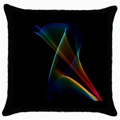 Abstract Rainbow Lily, Colorful Mystical Flower  Black Throw Pillow Case by DianeClancy
