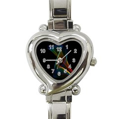 Abstract Rainbow Lily, Colorful Mystical Flower  Heart Italian Charm Watch  by DianeClancy